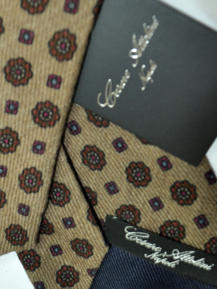 Attolini Wool Tie Espresso Brown Medallion