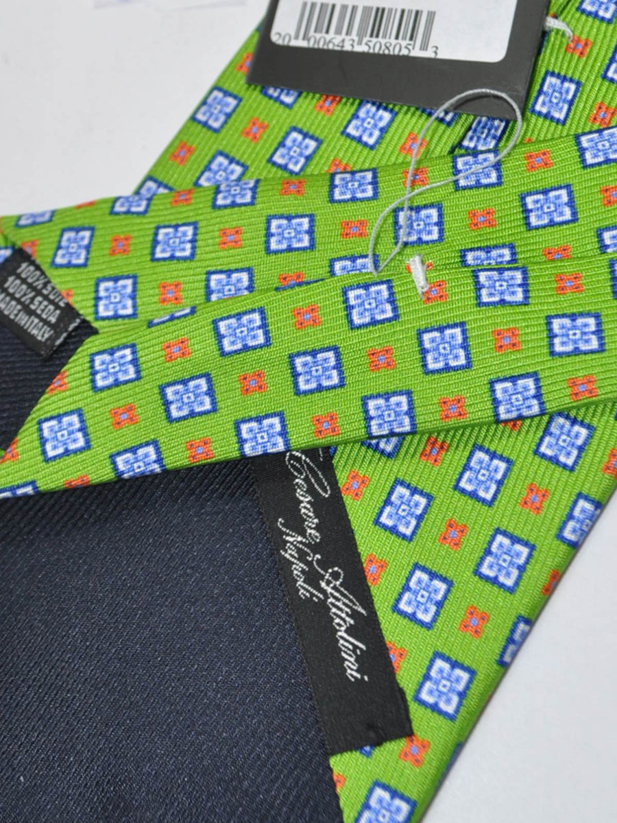 Attolini Tie Lime Navy Print