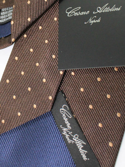 Cesare Attolini Silk Tie Brown Cream Dots