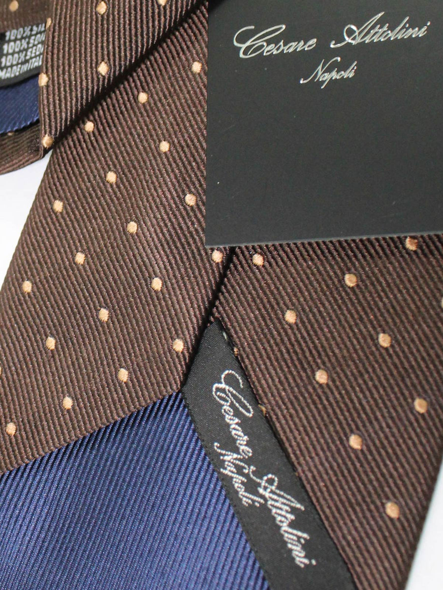 Cesare Attolini Tie Brown Cream Dots