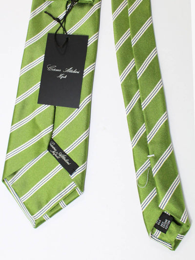 Cesare Attolini Silk Tie Olive Green Stripes FINAL SALE