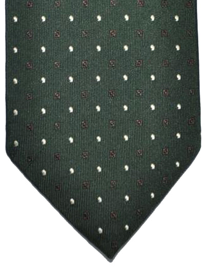 Cesare Attolini Tie Dark Green Brown Silver Geometric Design