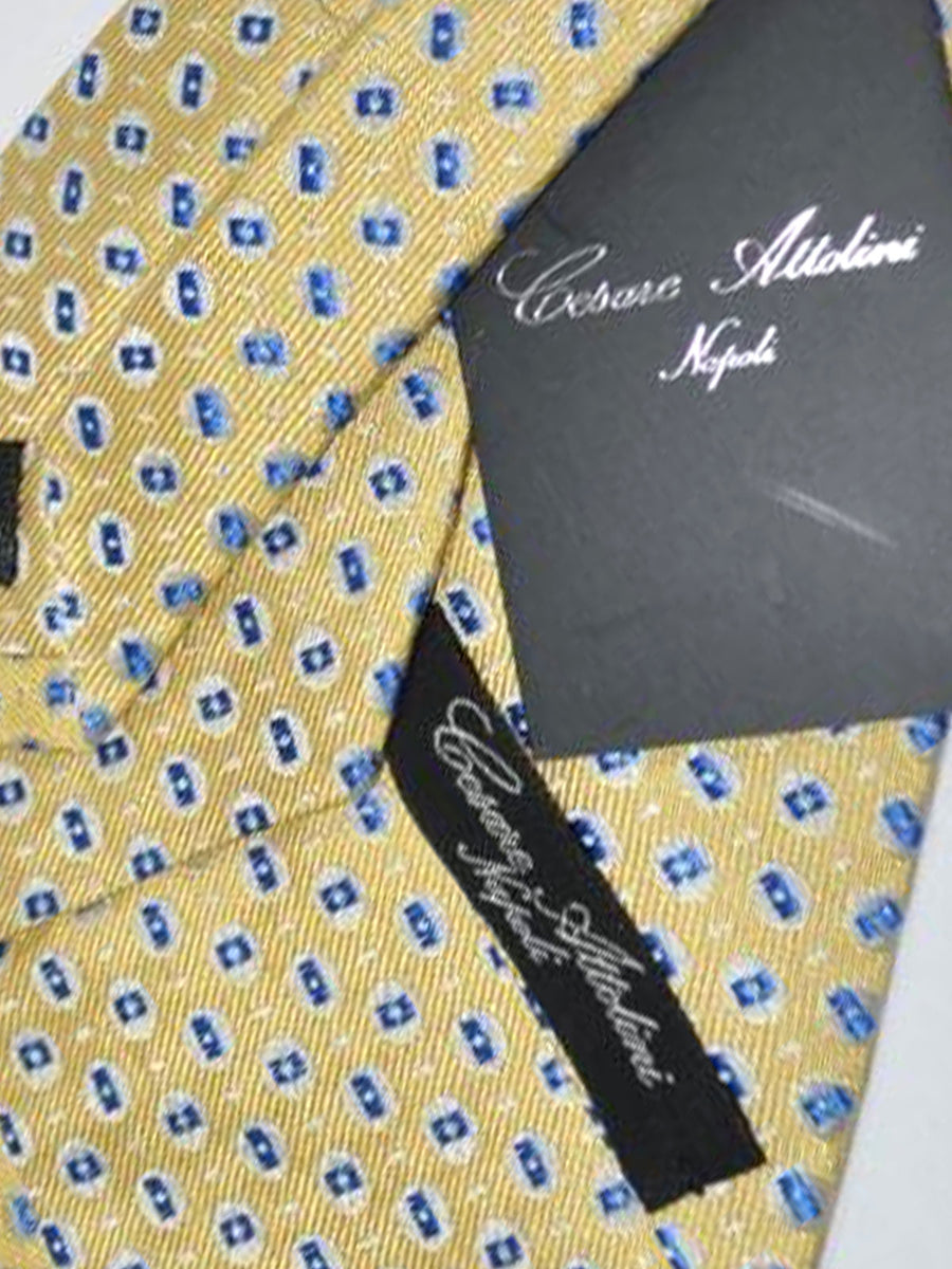Cesare Attolini Tie Gold Gray Blue Geometric Design