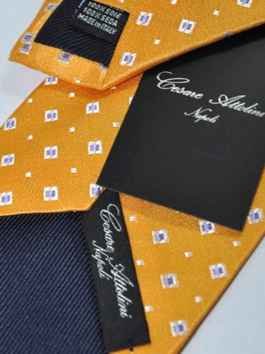 Cesare Attolini Tie Orange Purple Silver Geometric Design