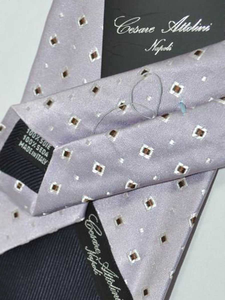Cesare Attolini Tie Lilac White Brown Geometric Design