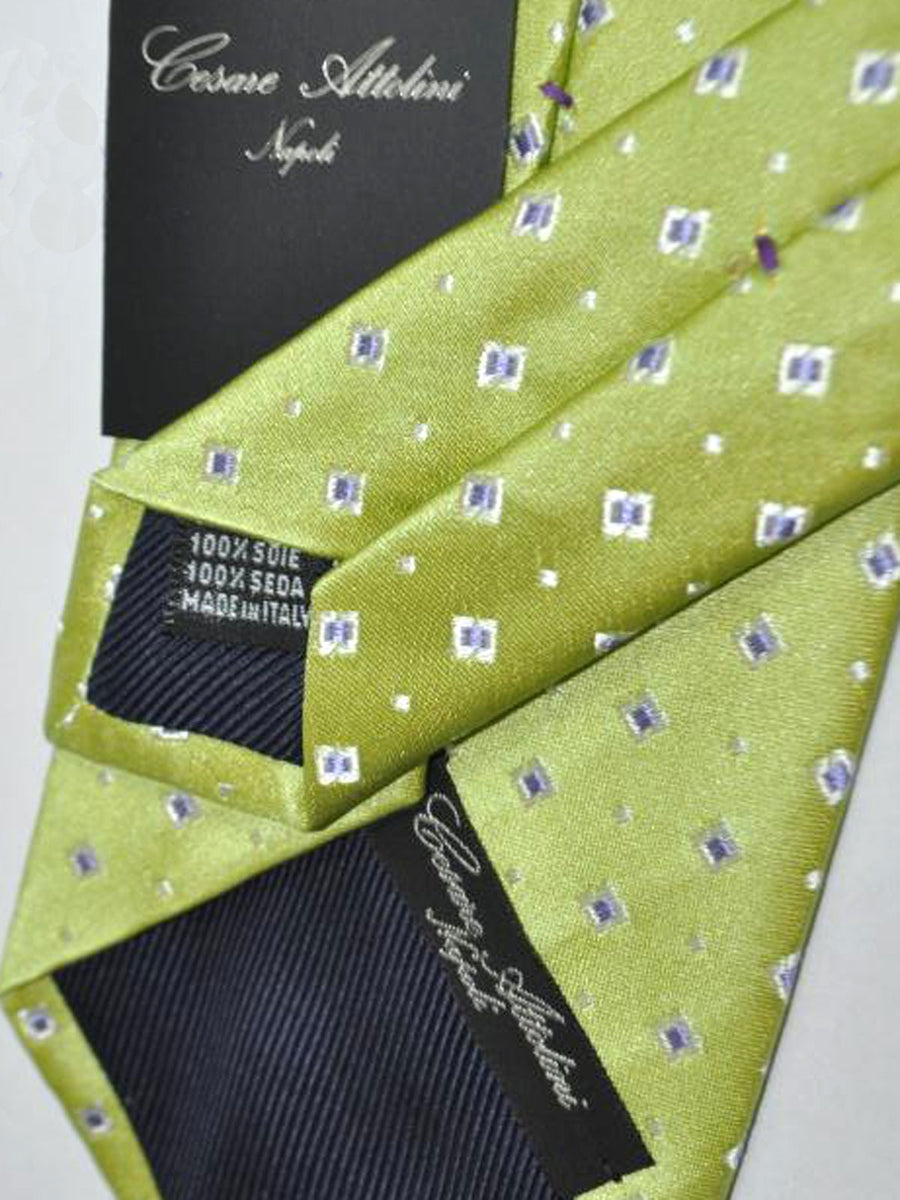 Cesare Attolini Tie Lime Green White Purple Geometric Design