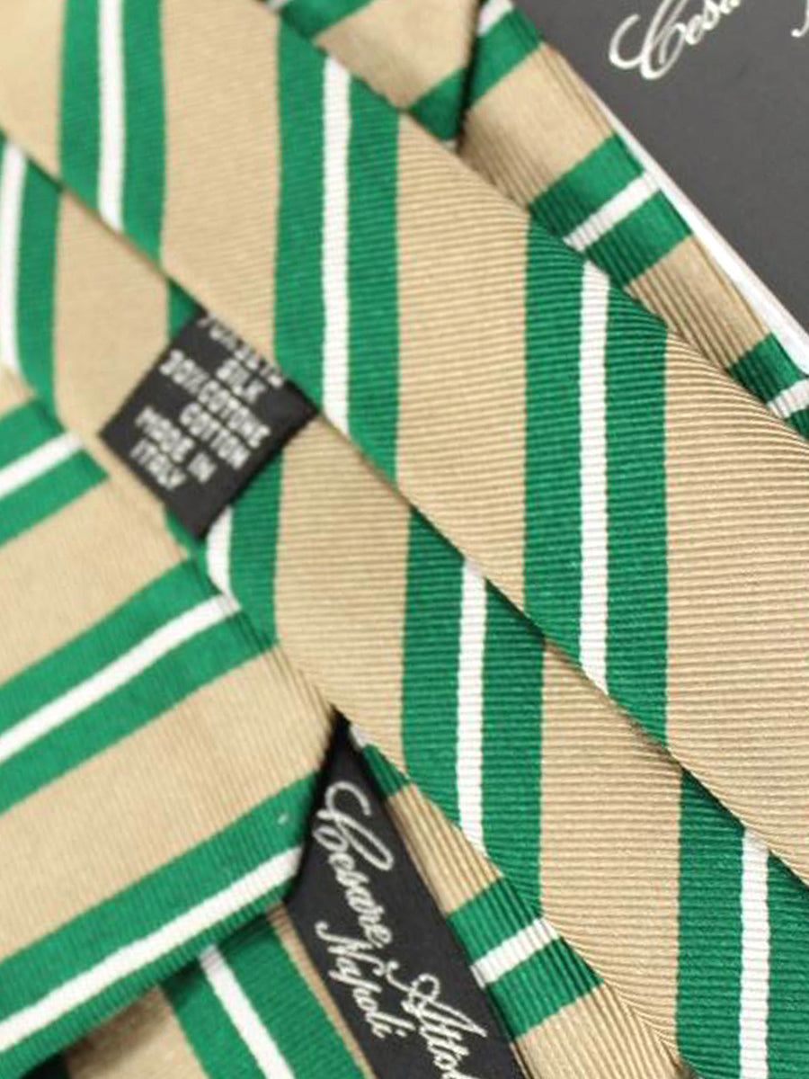 Cesare Attolini Tie Taupe Green Stripes Design