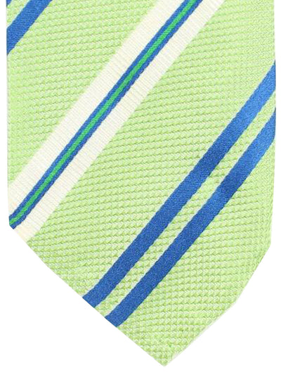 Cesare Attolini Tie Mint Royal Blue Stripes Design