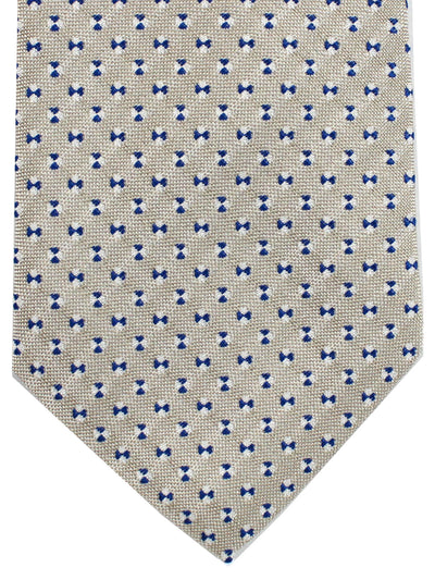 Cesare Attolini Tie Gray Royal Blue Geometric Design