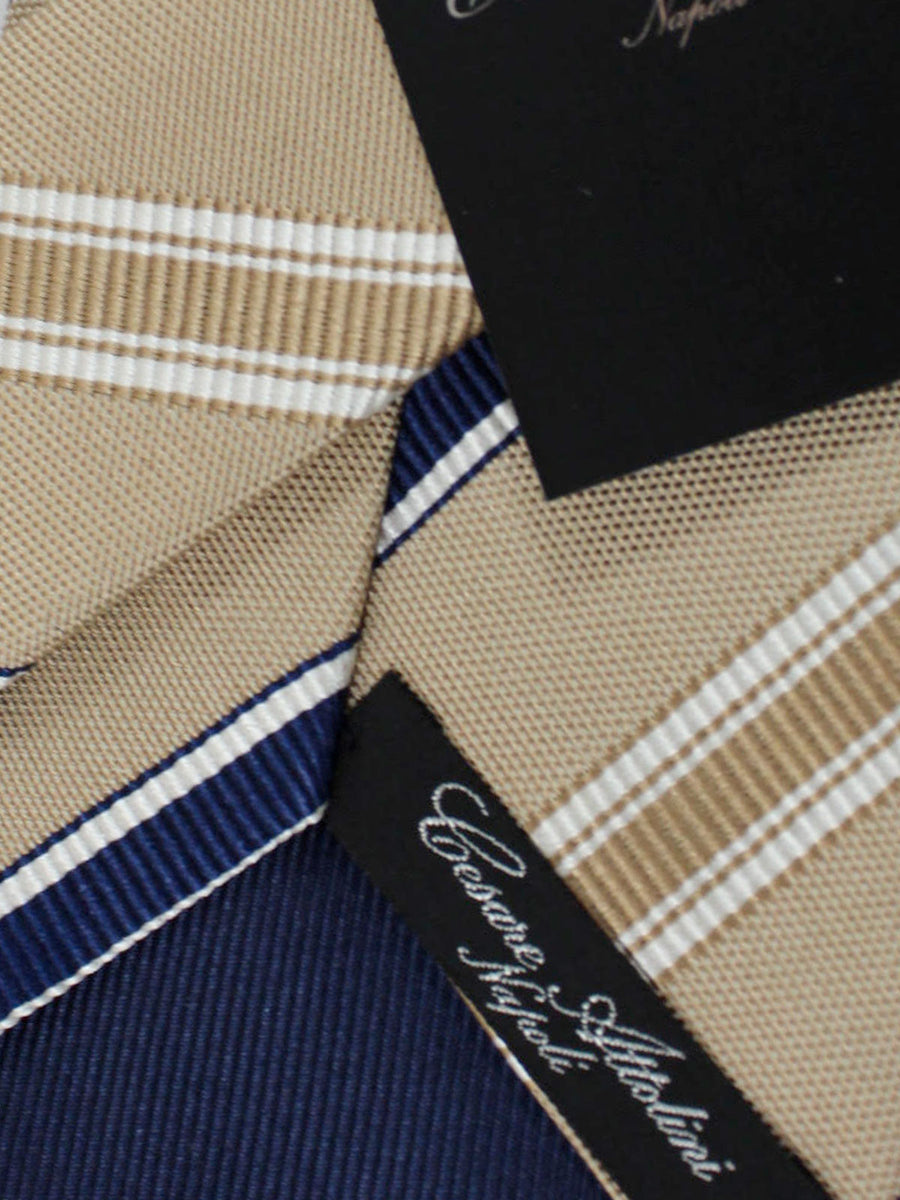 Cesare Attolini Tie Taupe Dark Blue Stripes Design