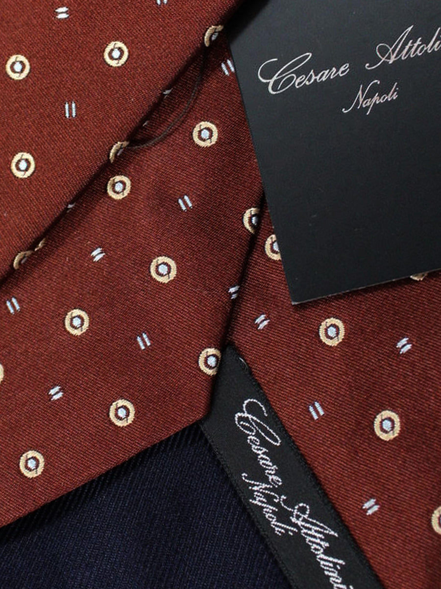 Cesare Attolini Tie Brown Geometric