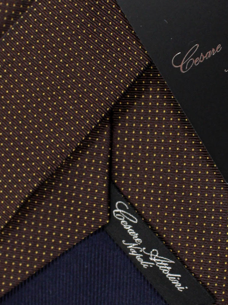 Cesare Attolini Silk Tie Brown Dots