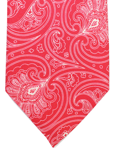 Cesare Attolini Tie Red White Ornamental