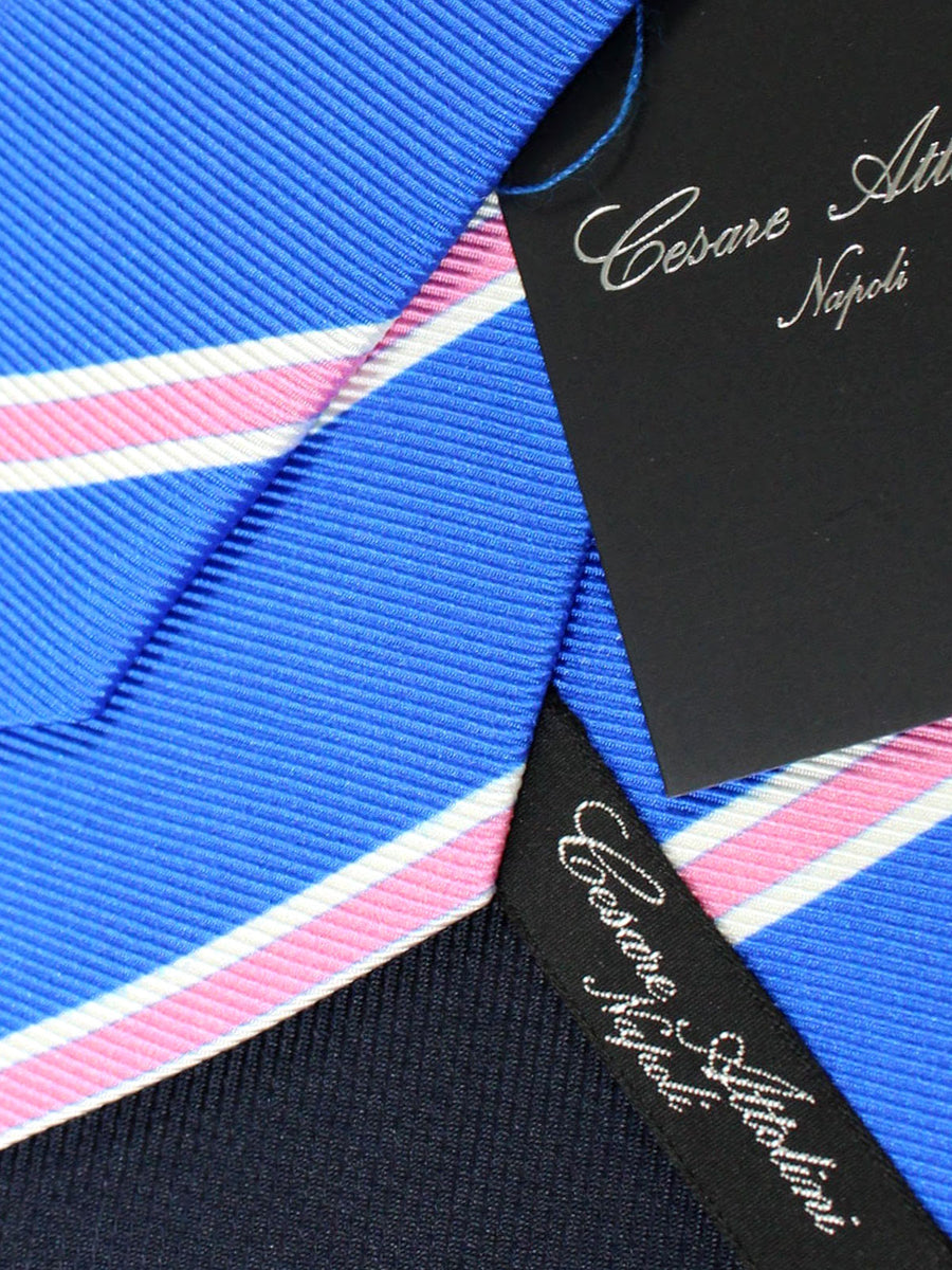 Cesare Attolini Tie Royal Pink Stripes