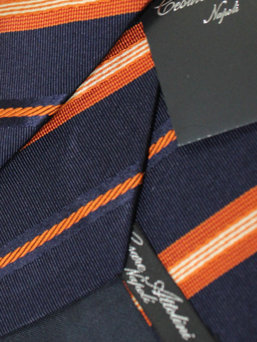 Cesare Attolini Tie Black Rust Orange Stripes