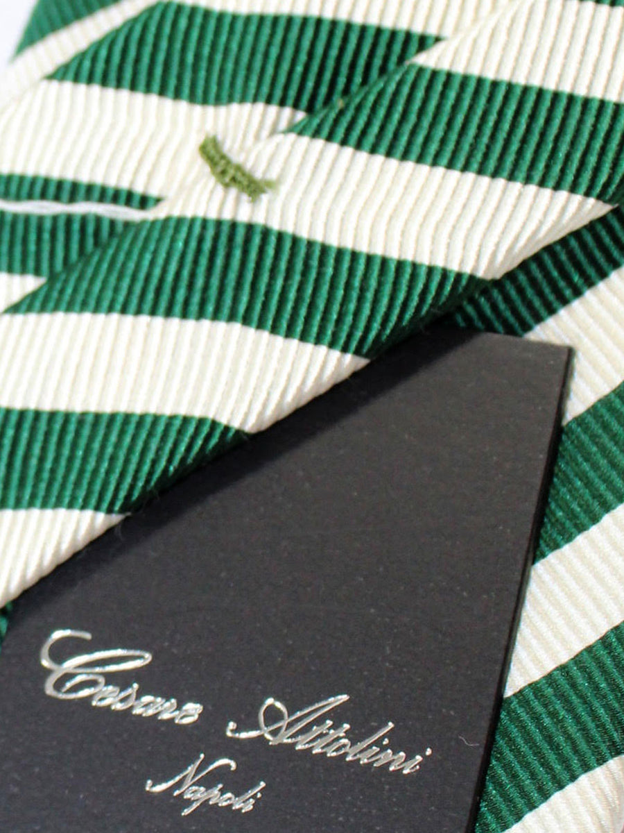 Cesare Attolini Tie White Green Stripes Unlined Necktie