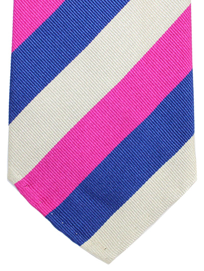 Cesare Attolini Tie Royal Fuchsia Gray Stripes Unlined Necktie