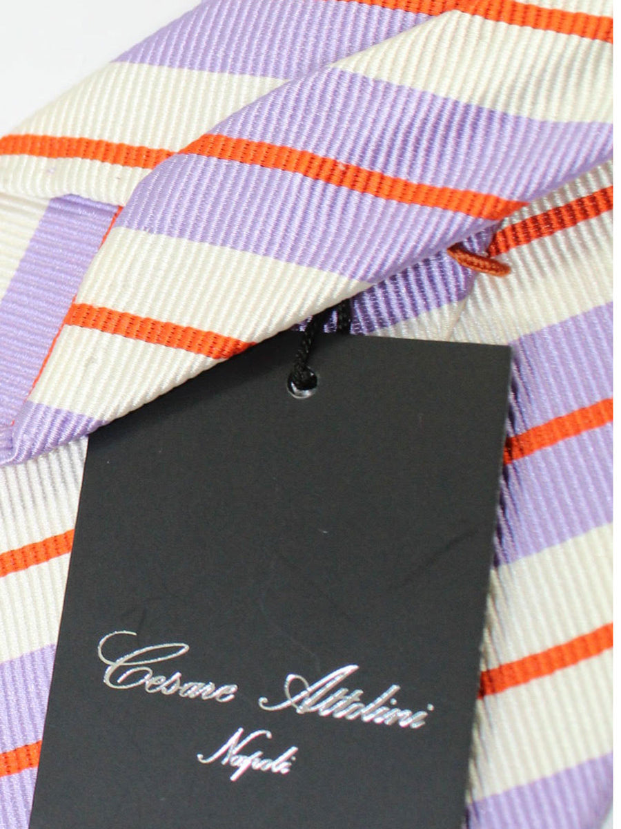 Cesare Attolini Tie White Lilac Red Stripes Unlined Necktie