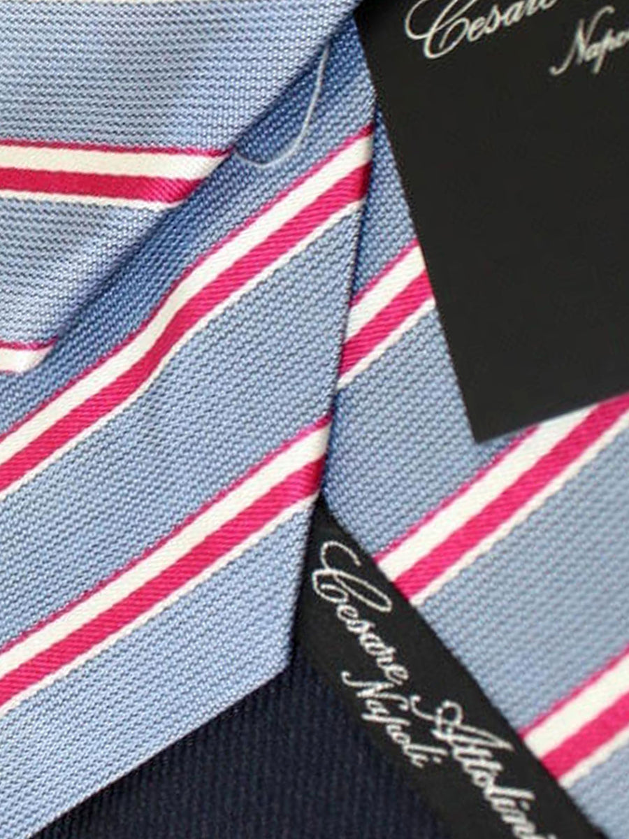 Cesare Attolini Tie Gray Red Silver Stripes