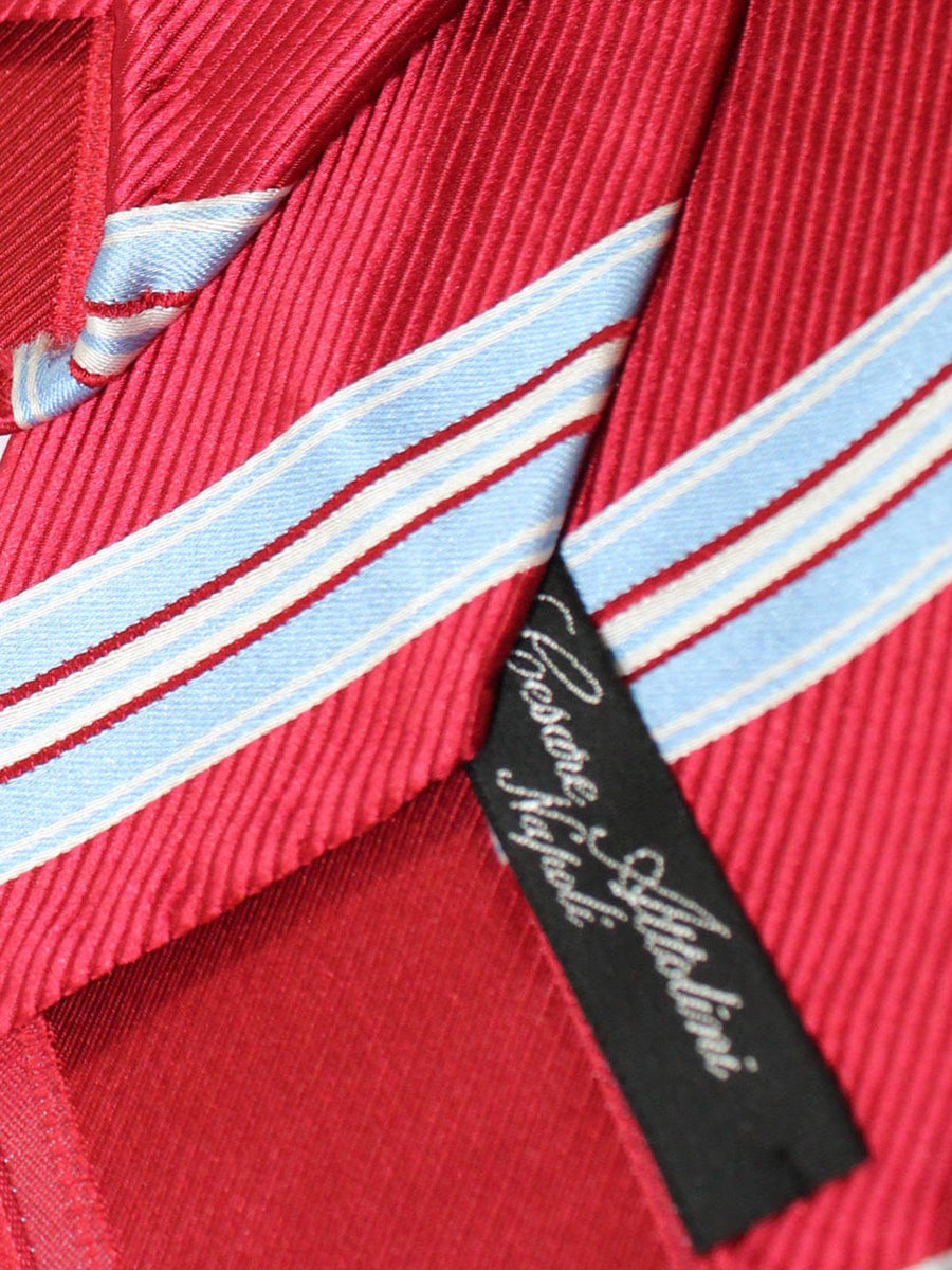 Cesare Attolini Tie Red Sky Blue Stripes Unlined Necktie