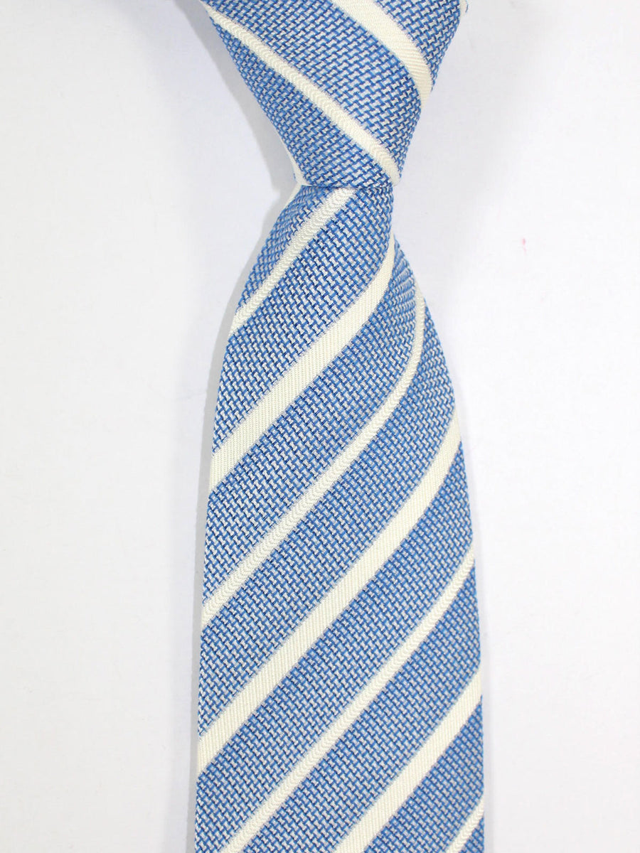 Cesare Attolini Tie Blue Silver Stripes Unlined Necktie