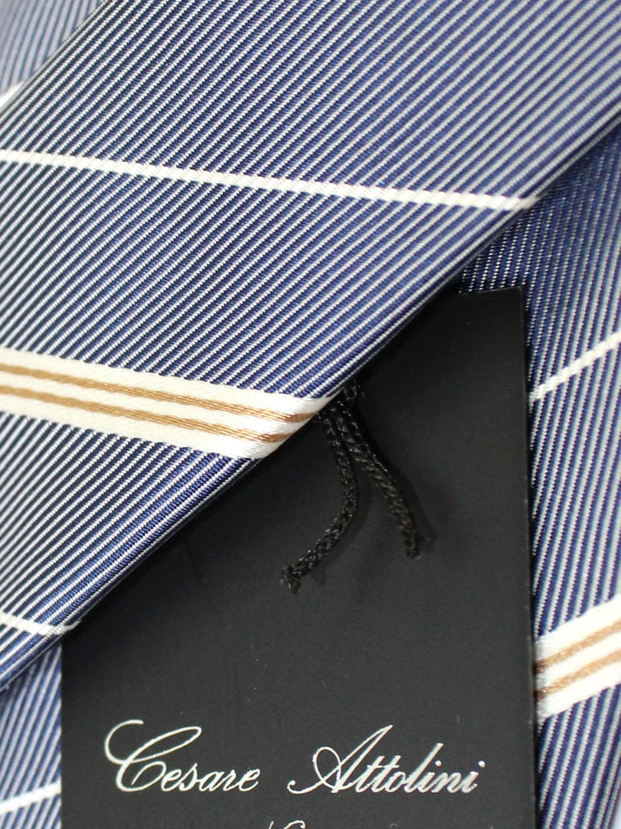 Cesare Attolini Tie Dark Blue Silver Brown Stripes Design Silk