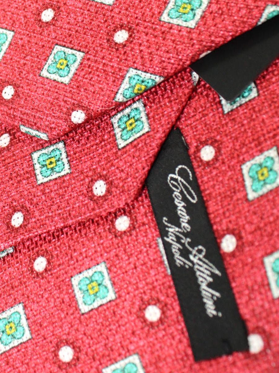 Cesare Attolini Tie Red Emerald Geometric Design Silk