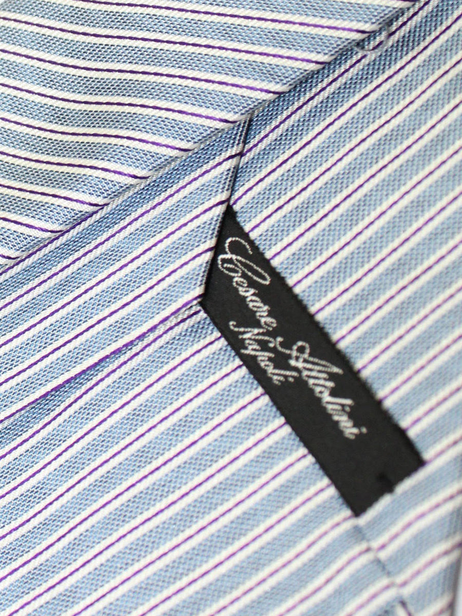 Cesare Attolini Tie Metallic Gray Navy Silver Stripes Design Silk