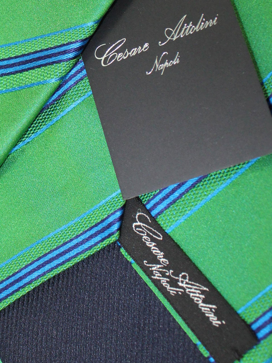 Cesare Attolini Tie Green Royal Stripes