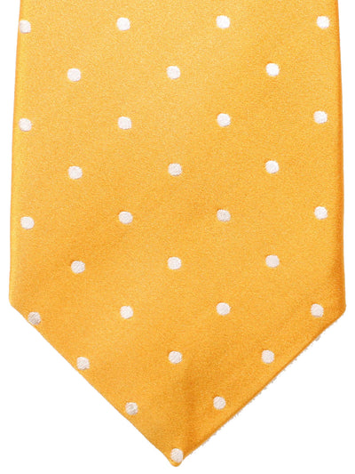 Attolini Silk Tie Orange Silver Dots