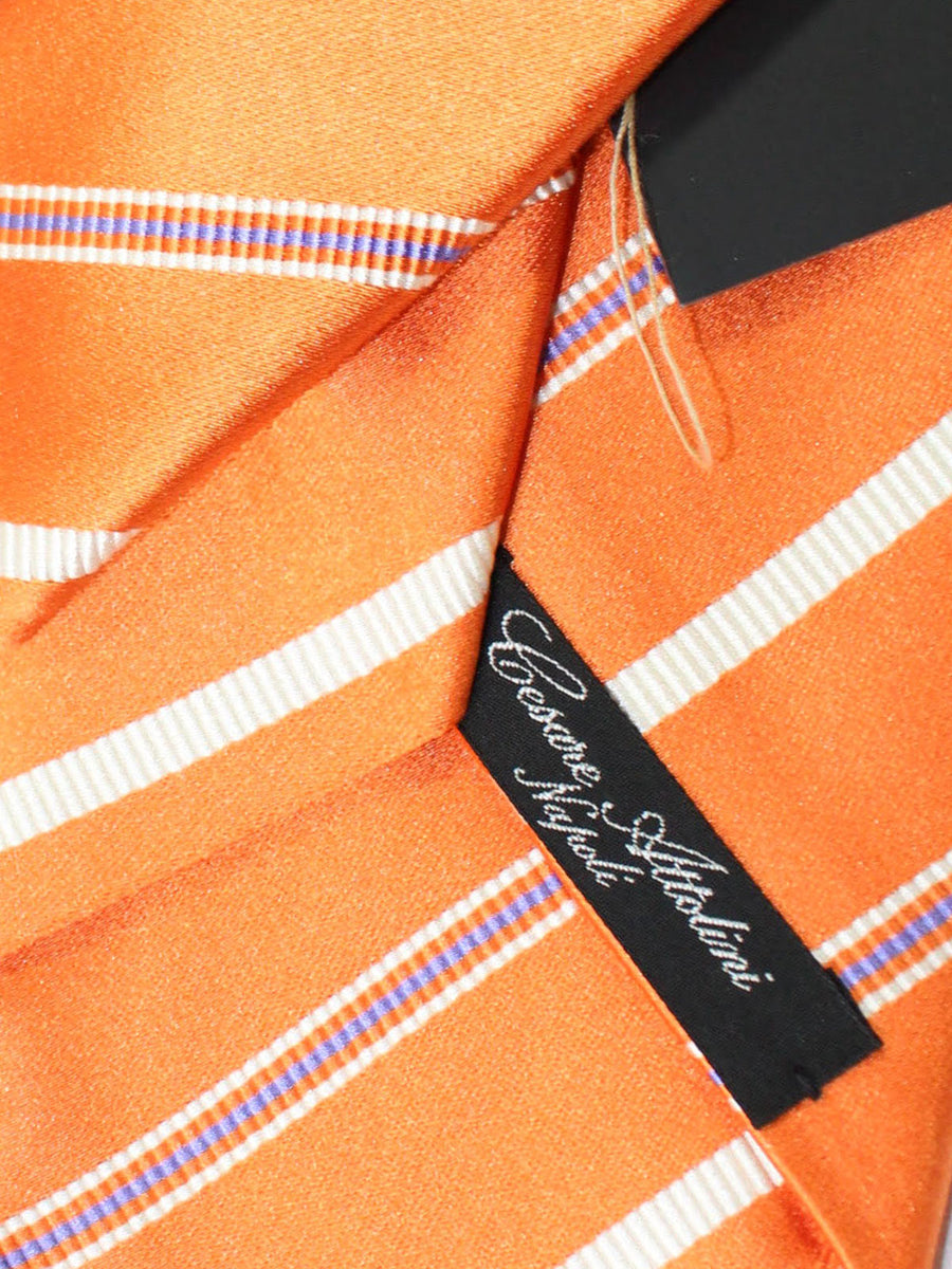 Attolini Silk Tie Orange White Royal Stripes