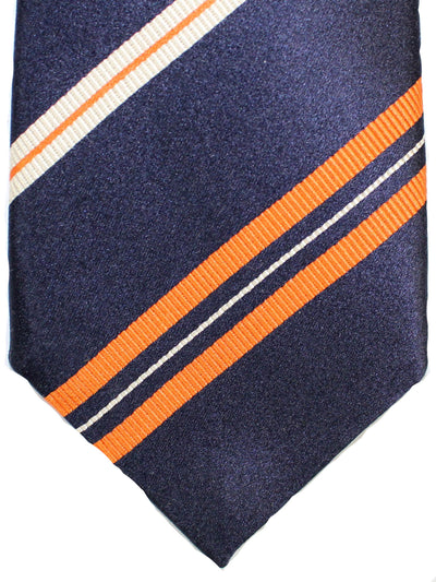 Attolini Silk Tie Black Orange White Stripes