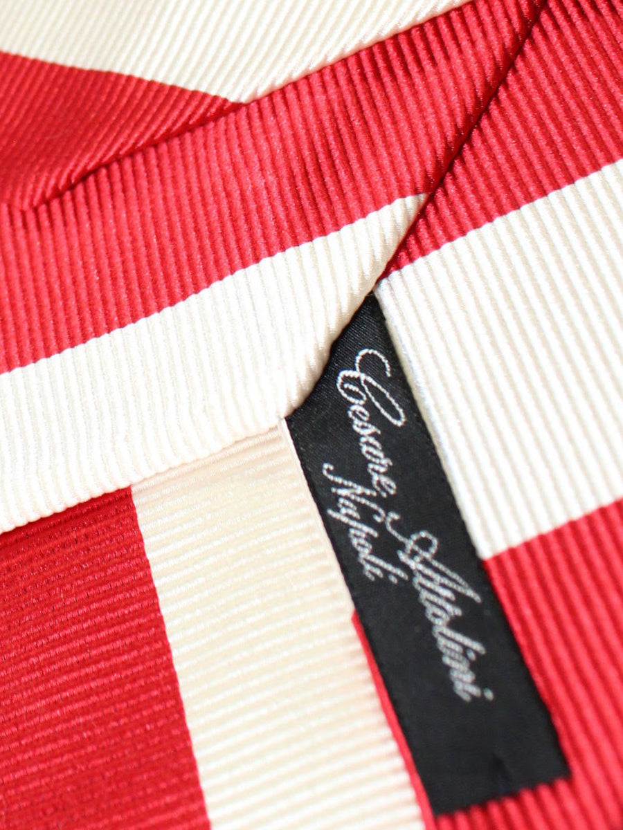 Cesare Attolini Unlined Tie White Red Stripes