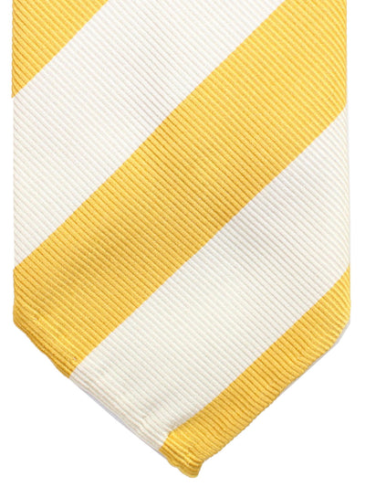 Cesare Attolini Unlined Tie White Yellow Stripes