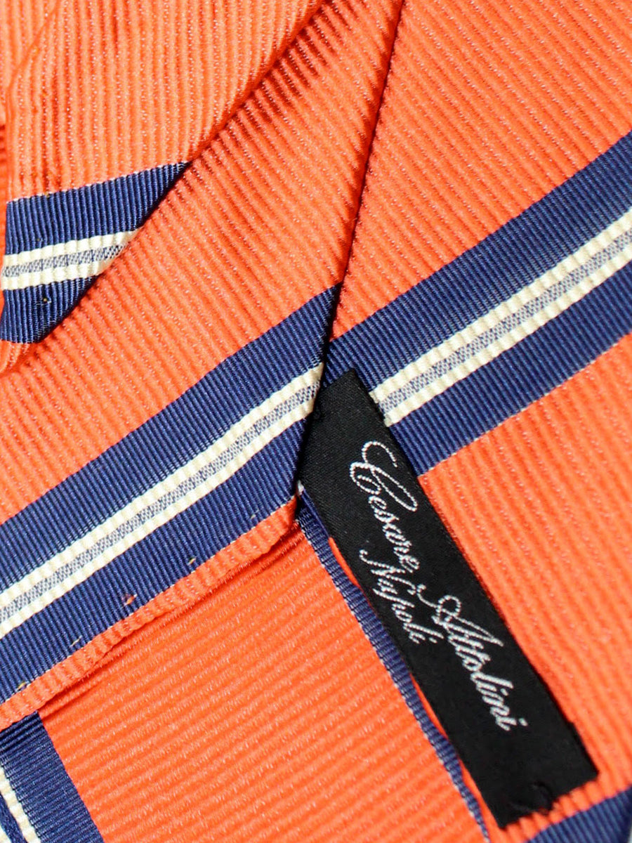 Cesare Attolini Unlined Tie Orange Navy Stripes