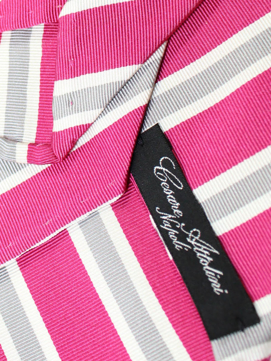 Cesare Attolini Unlined Tie Pink Gray White Stripes