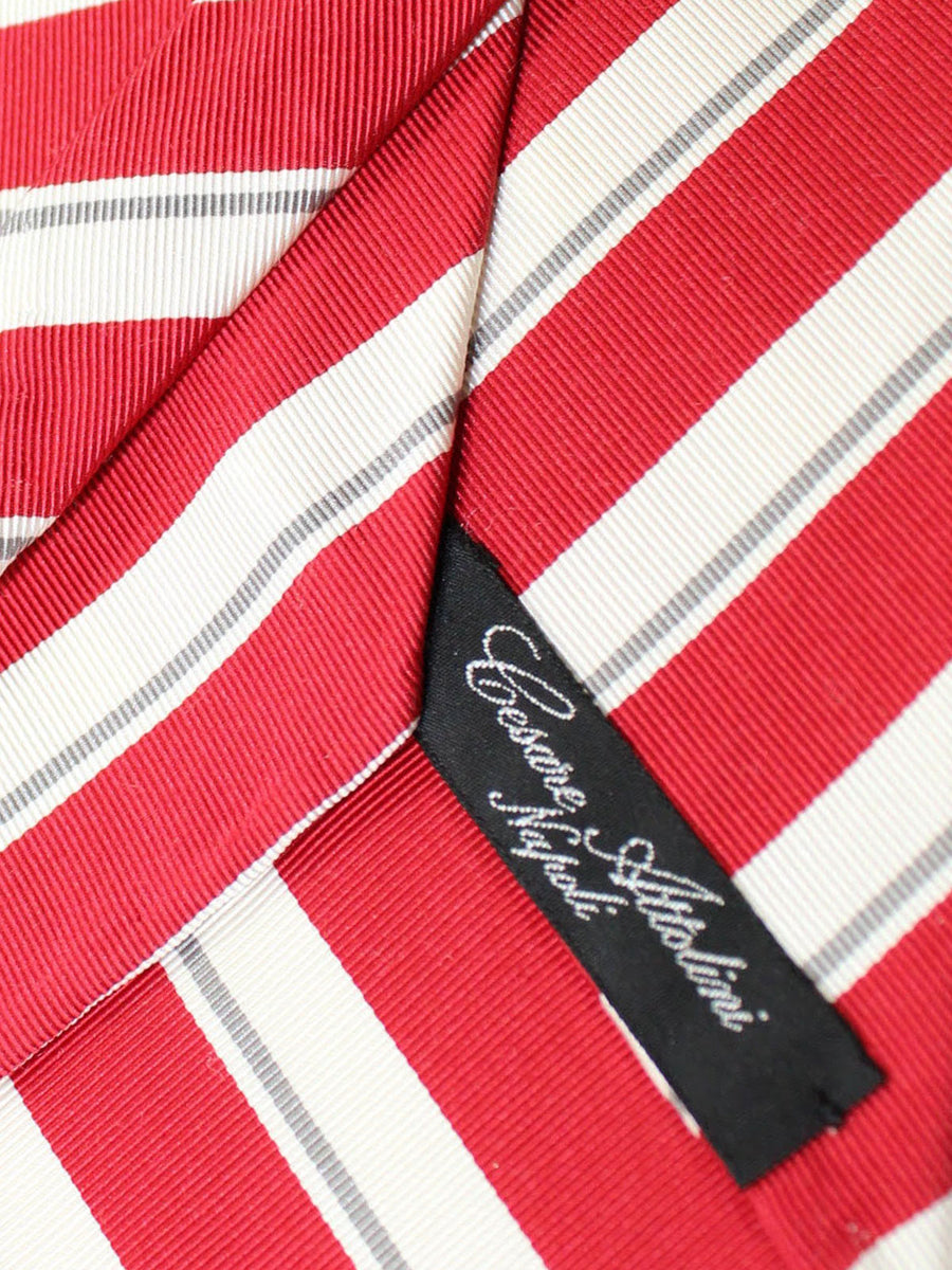 Cesare Attolini Unlined Tie Red White Gray Stripes