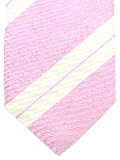 Attolini Linen Silk Tie Pink White Stripes