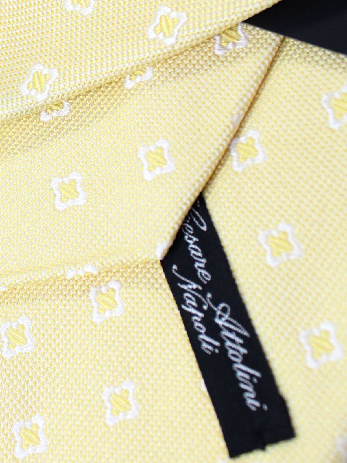 Attolini Silk Tie Yellow Geometric