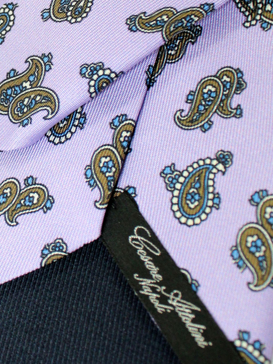 Attolini Silk Tie Purple Brown Paisley