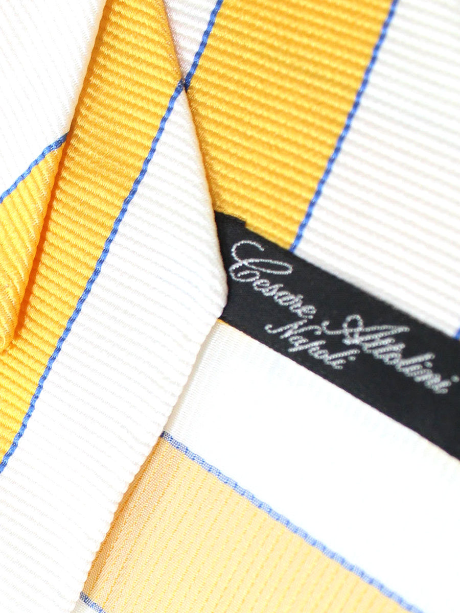 Cesare Attolini Unlined Tie Yellow White Royal Stripes
