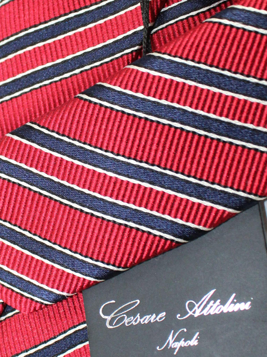 Attolini Silk Tie Dark Red Navy Stripes