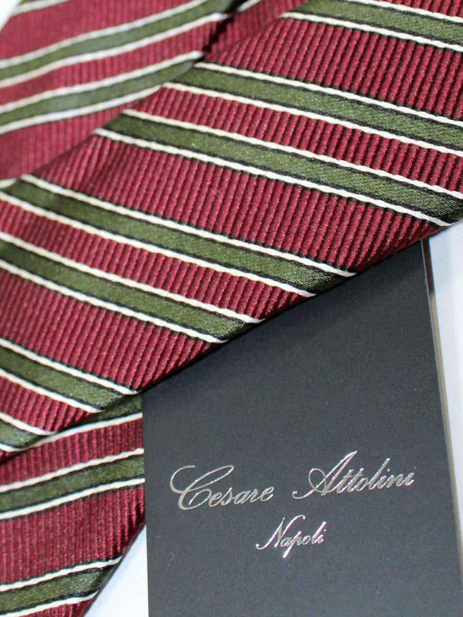 Attolini Silk Tie Maroon Dark Green Stripes