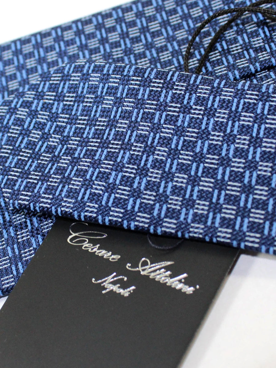 Attolini Silk Tie Navy Blue Geometric