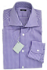 Barba Shirt Purple White Check