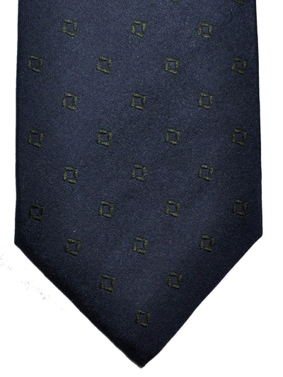 Barba Sevenfold Tie Dark Navy Green Geometric