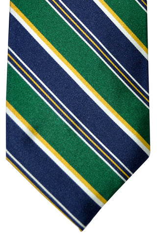 Barba Sevenfold Tie Green Navy Stripes