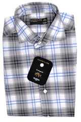Barba Sport Shirt Gray Navy Plaid 39 - 15 1/2