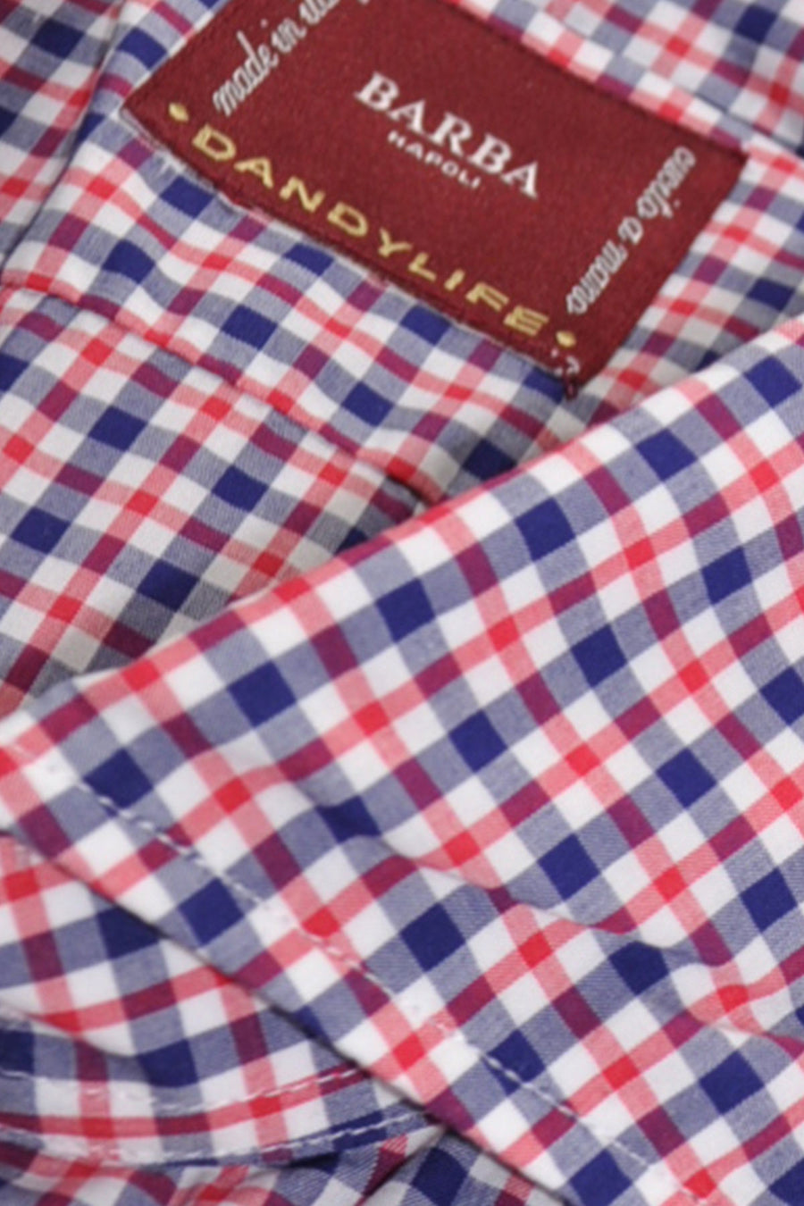 Barba Sport Shirt Red Navy Check