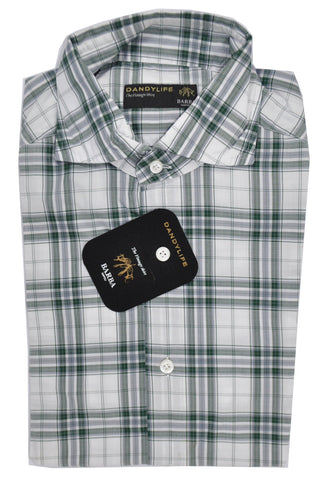 Barba Sport Shirt Gray Green Plaid 40 - 15 3/4 SALE